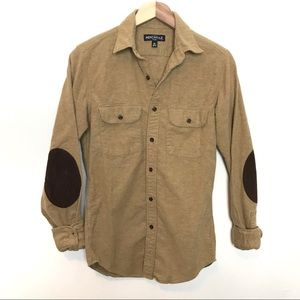 J. Crew Mercantile Flex Brown Tan Button Down XS
